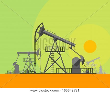 Cartoon Oil Derrick at Sunset Background Concept Energy Industrial Flat Design Style. Vector illustration