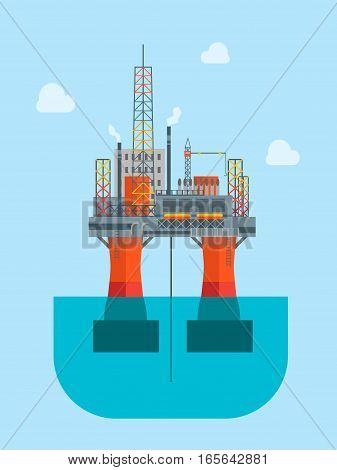 Cartoon Oil Drilling Platform in The Sea or Ocean Flat Design Style. Vector illustration