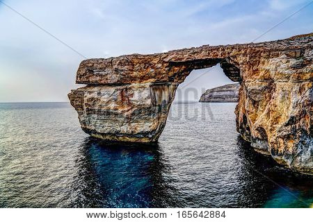 Sea view to Azure window natural arch Gozo island Malta