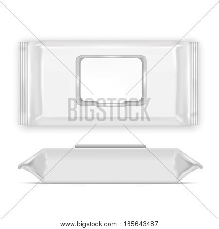 Realistic Template Blank White Wipes Empty Mock Up Top View and Side. Vector illustration