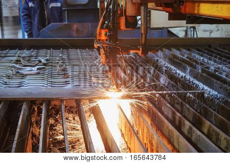 Oxygen Torch Cuts Steel Sheet.