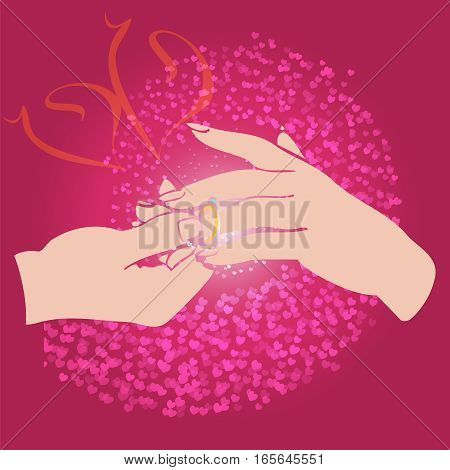 Groom puts the ring on the bride hand wedding and Valentines Day Card. Vector illustration. Element design for cards and invitation