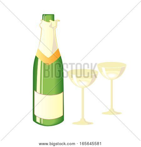 Two glasses of champagne and bottle. Vector illustration.