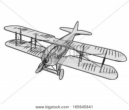 Biplane from World War with outline. Model aircraft propeller with two wings. Old retro vector aircraft designed for poster printing. Beautifully and realistically drawn vector flying biplane.