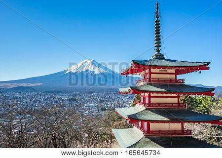 Mt. Fuji with Chureito Pagoda in Kawagushiko near Tokyo Japan.
