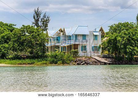 Tamarin Mauritius - December 8 2016: Riverside villa where the ocean meets the river Tamarin Black River District Mauritius