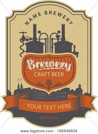 label beer with the old town and the brewery