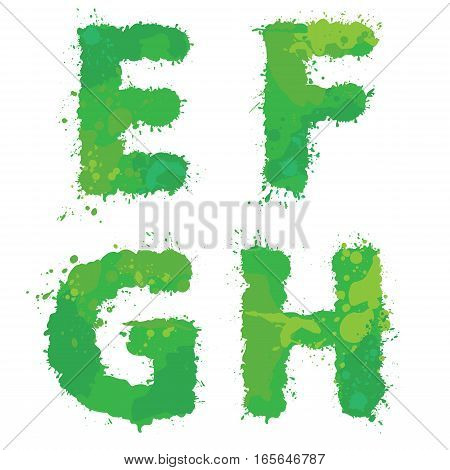 E F G H Handdrawn english alphabet - letters are made of green watercolor ink splatter paint splash font. Isolated on white background.