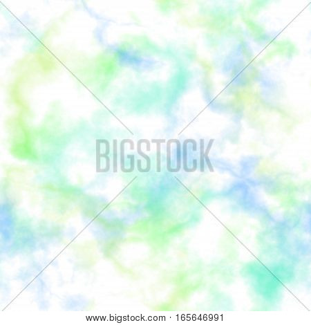 Abstract smoke on white background.  Blue and green clouds.  Cloudy pattern. Blurry gas. Steam. Fog.  Foggy texture. Seamless illustration.