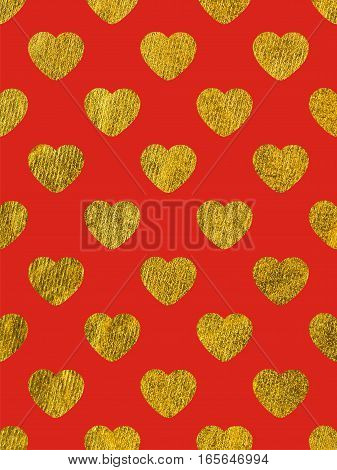 Golden hearts on a red background. The theme of love and Valentines Day. Beautiful festive shiny pattern. Rectangular vertical orientation