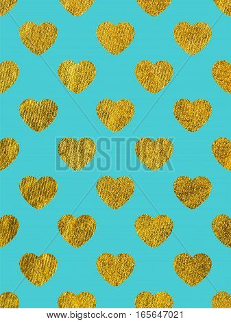 Golden hearts on a blue background. The theme of love and Valentines Day. Beautiful festive shiny pattern. Rectangular vertical orientation