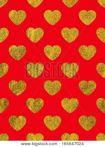 Golden hearts on ared background. The theme of love and Valentines Day. Beautiful festive shiny pattern. Rectangular vertical orientation