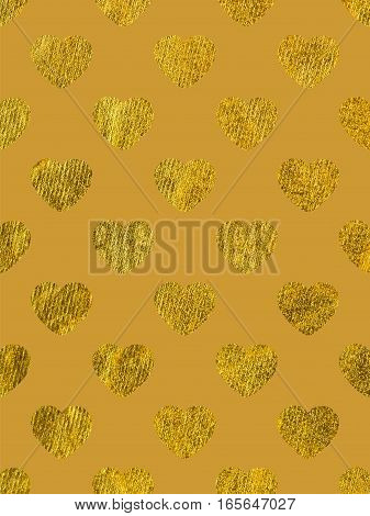 Golden hearts on a yellow background. The theme of love and Valentines Day. Beautiful festive shiny pattern. Rectangular vertical orientation