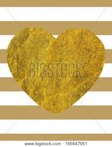 A large Golden heart on the background of horizontal wide lines with copy space Rectangular orientation Texture gold