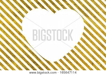 Slanted Golden lines with big white heart The Theme of love and Valentines Day Idea for greeting card Rectangular orientation. Diagonal stripes of gold. Copy space