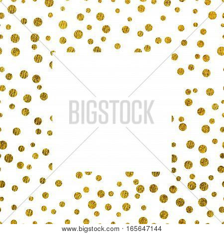 Frame golden texture with copy space. The theme of glamour Valentines Day or holiday Greetings Gold glitter on a white background
