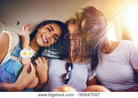 Three Affectionate Carefree Girlfriends