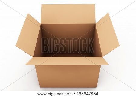 Box cardboard open. Box isolated on white background. 3D render.