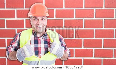 Happy Builder Smiling And Acting Like Superman