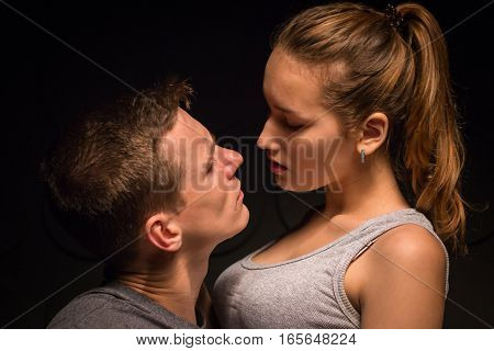 Passionate Young Couple In The Room
