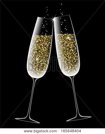 Two wine glasses with sparkling champagne golden glow Valentines day love holiday merry party vector illustration
