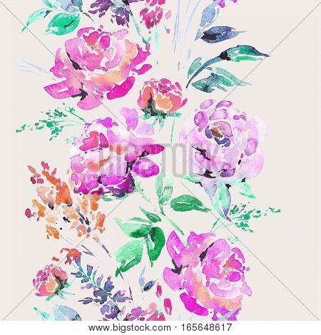 Abstract watercolor floral seamless border in a la prima style, red watercolor roses - flowers, twigs, leaves, buds. Hand painted vintage floral illustration