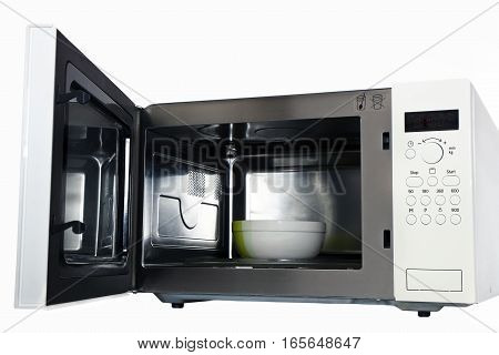 the microwave oven with an open door