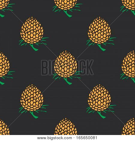 young pineapple on dark background seamless pattern.