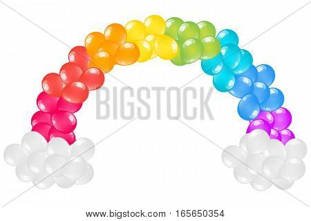St. Patrick's Day balloons decorative rainbow arch isolated on white background.