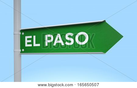 3d rendering Green signpost road information el paso
