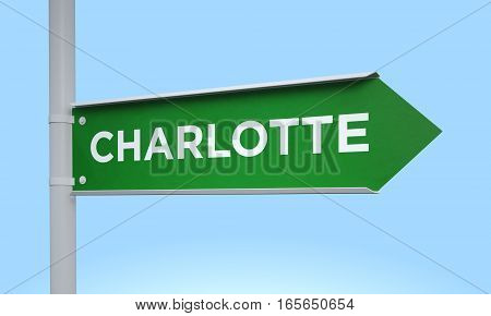 3d rendering Green signpost road information charlotte