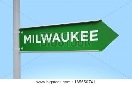 3d rendering Green signpost road information milwaukee