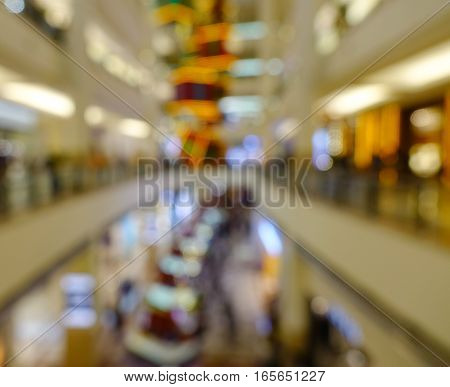 Defocused Shopping Mall Interior With People