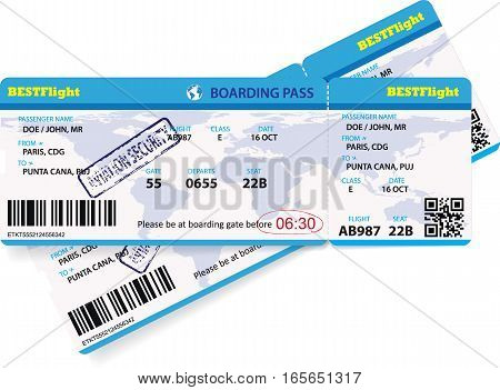 Vector template of an airline boarding pass ticket for traveling by plane.