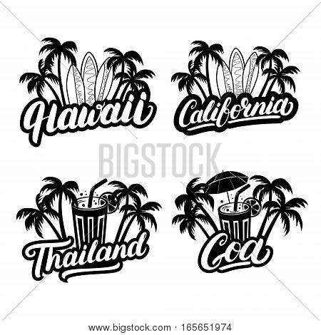 Set of Hawaii, California, Goa and Thailand hand written lettering with palms, surfboards and cocktails. Travel vacation vector illustration. Isolated on background.