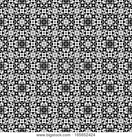 Vector monochrome seamless pattern. Abstract ornamental texture, repeat geometric tiles. Black & white endless specular background, illusion of movement. Design element for prints, textile, fabric, furniture, digital, web