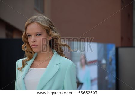ANKARA, TURKEY - JULY 6, 2013 : On the catwalk model present a new women's collection at Balgat Street defile during the Ankara Shopping Fest.