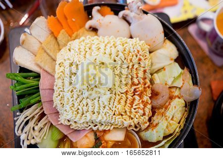 Korean Tokpokki hot pot top view in Korean Restaurant Spicy and Healthy Korean Food
