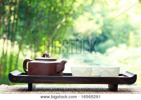 Classical asian tea set at outdoors
