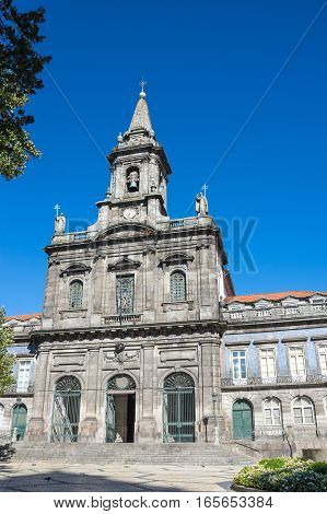 Trinity church in the old town of Porto Portugal