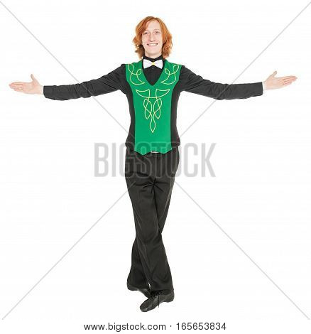 Young Man In Costume For Irish Dance Isolated