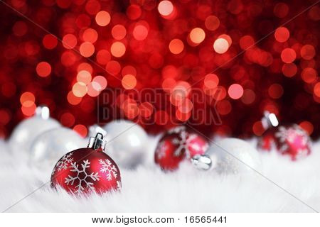 christmas ball on abstract light background,Shallow Dof.