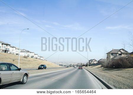 Stoney Trail - the Road near Calgary Alberta Canada