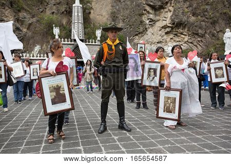 August 30 2016 Las Lajas Colombia: silent demonstration in the front of the sanctuary honouring the disappeared relatives