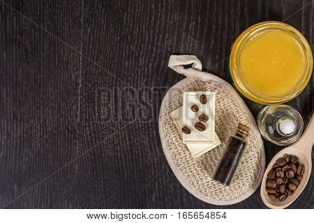 cosmetics for spa on dark background. top view. Still life