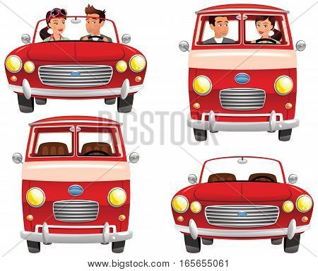 Four illustrations of open top sports cars and camping vans. Two with people driving and two empty.