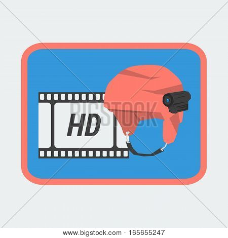 Vector Icon HD Action Camera on Helmet for Winter Holidays. Sport Eqipment for Extreme Video Making in Flat Style
