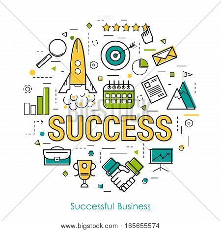 Vector round concept of business start up or personal success and speed growth in thin line style. The rocket rises and big letters
