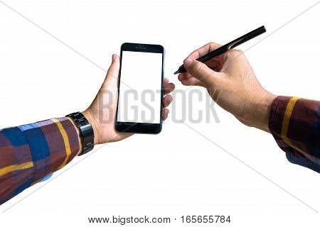 hand holding a modern smartphone with hipster shirt and pointing with electronic pen to Blank screen for put it on your own webpage or message.