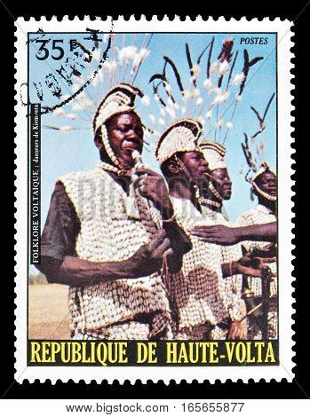 UPPER VOLTA - CIRCA 1973 : Cancelled postage stamp printed by Upper Volta, that shows Kiembara Dancers.